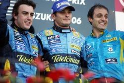 Podium: race winner Fernando Alonso with Giancarlo Fisichella and Frederic Lom
