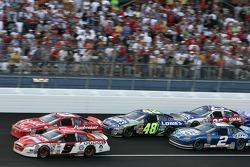 Dale Earnhardt Jr. and Kasey Kahne battle for the lead