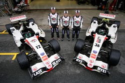 Honda photoshoot: Jenson Button, Anthony Davidson and Rubens Barrichello with the Honda RA106s in 'Last Blast' livery