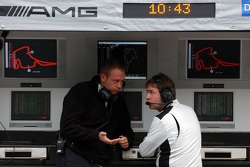 Gerhard Ungar, Chief Designer AMG at the command stand at the pitwall