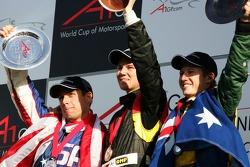 Top 3 finishers of race 2: Nico Hulkenberg, Phil Giebler and Ryan Briscoe