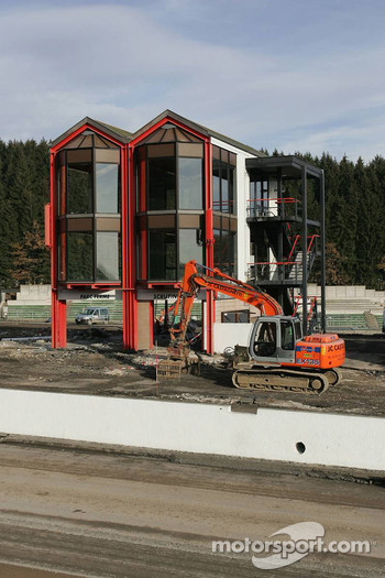 Construction work taking place to rebuild the pits and track at the Spa-Francorchamps