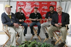 Press conference for Tylenol's expanded support for NASCAR: Jim Hunter, NASCAR VP of Corporate Communications, Jimmie Johnson, Kevin Harvick, Elliott Sadler, and Eric Bruno, VP of Marketing for McNiel Consumer Healthcare
