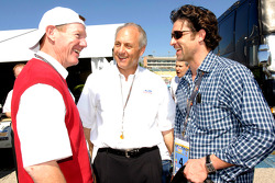 Alan Mulally, President and CEO Ford Motor Company chats with Dan Davis and Patrick Dempsey