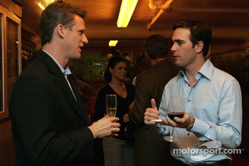 NASCAR Vice President of Corporate Marketing, Steve Phelps, talks with 2006 NASCAR Nextel Cup Series champion Jimmie Johnson, during the champion's welcome dinner at the Waldorf-Astoria Hotel