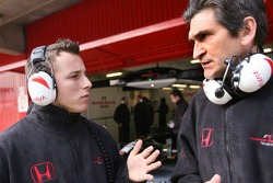 Jacky Eeckelaert, engineer, Honda Racing F1 Team and Christian Klien