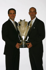 Jimmie Johnson and Chad Knaus pose for a photo with the NASCAR NEXTEL Cup