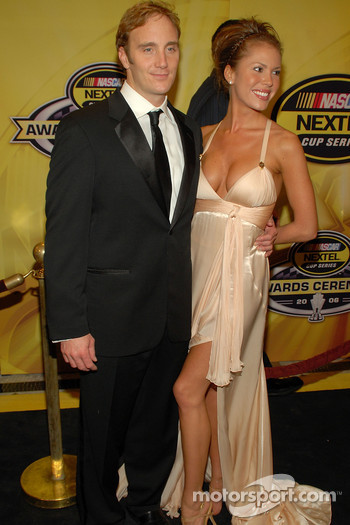 Comedian Jay Mohr and actress Nikki Cox pose for photos on the red carpet prior to the 2006 NASCAR NEXTEL Cup Series Awards Ceremony