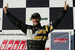 Podium: race winner Andy Pilgrim celebrates