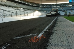 The top layer of asphalt offers little grip
