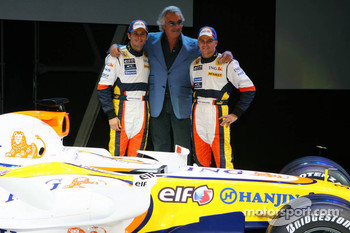 Flavio Briatore with Giancarlo Fisichella and Heikki Kovalainen