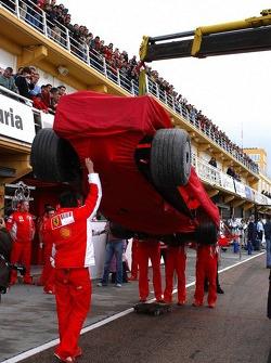 Ferrari of Felipe Massa back on a truck
