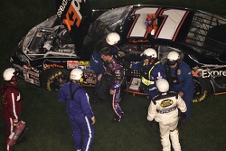 Denny Hamlin gets out of his car