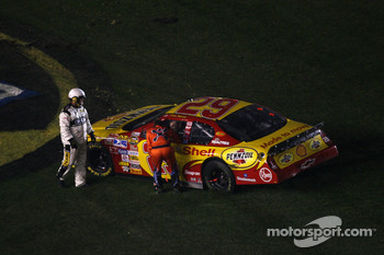 Race winner Kevin Harvick is congratulated by teammate Jeff Burton