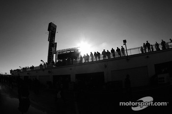 NASCAR fans watch garage activity