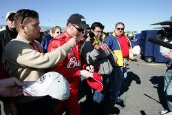 Dale Earnhardt Jr. leaves the garage area
