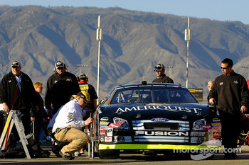 Greg Biffle's Ford Fusion goes through pre qualifying inspection