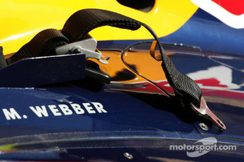 The seat belt of Mark Webber, Red Bull Racing