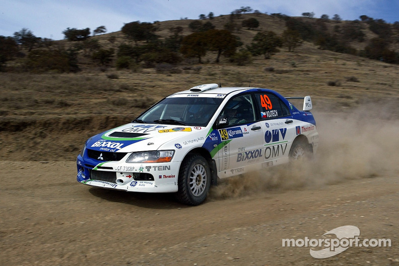 Stepan Vojtech and Michal Ernst, OMV Bixxol Rally Team Mitsubishi Lancer Evo IX
