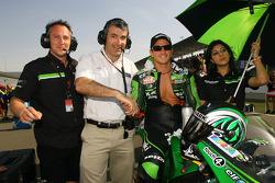 Randy de Puniet on the starting grid