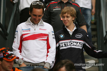 Franck Montagny, Test Driver, Toyota F1 Team and Sebastian Vettel, Test Driver, BMW Sauber F1 Team
