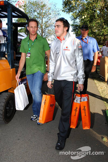 Fernando Alonso, McLaren Mercedes, leaves the circuit