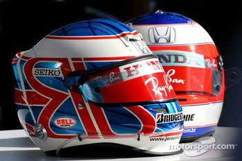 Helmets of Jenson Button, Honda Racing F1 Team and Rubens Barrichello, Honda Racing F1 Team