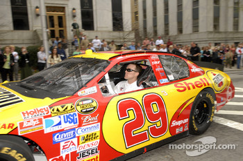 Kevin Harvick takes a lap around the Georgia State Capitol