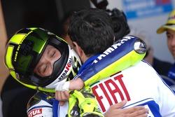Race winner Valentino Rossi celebrates