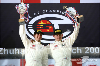 GT2 podium: class unofficial winner Emmanuel Collard and Matteo Malucelli