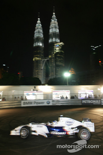 BMW Pit Lane Park in front of the Petronas twin-towers in Kuala Lumpur