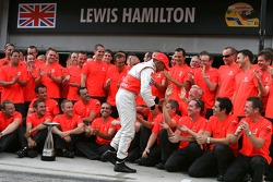 Victory celebration at McLaren: Lewis Hamilton