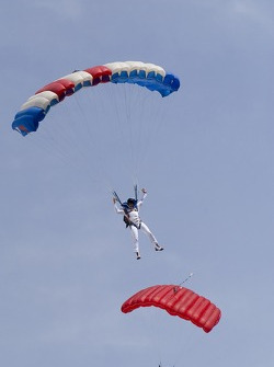 Skydiver during pre-race show