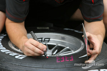Honda mark their tyres for the weekend