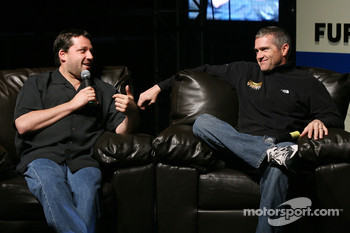 NASCAR NEXTEL Cup drivers Tony Stewart and Bobby Labonte talk during the Fandango Exclusive Season Ticket Holders party