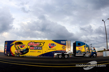 The Kellogg's CarQuest Chevy team hauler enters the track