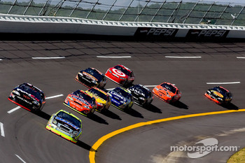 Robby Gordon leads a group of cars