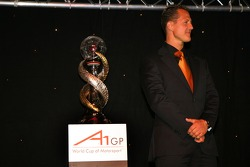 Michael Schumacher with the championship trophy
