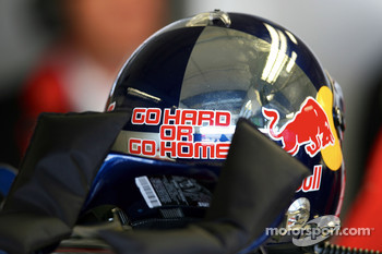 Helmet of Mattias Ekström, Audi Sport Team Abt Sportsline, with the text GO HARD OR GO HOME