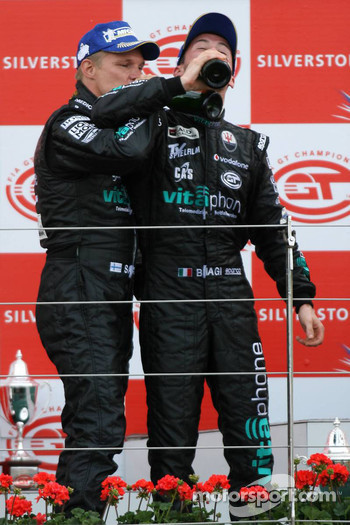 GT1 podium: class and overall winners Mika Salo and Thomas Biagi