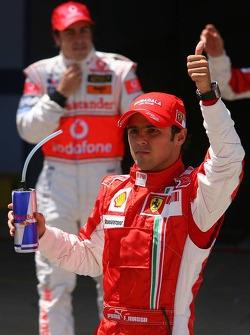 Pole winner Felipe Massa, Scuderia Ferrari, celebrates