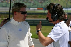 Mika Hakkinen, Team HWA AMG Mercedes, with his race engineer Axel Randolph