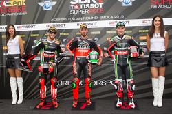 Second place Tom Sykes, Kawasaki, Polesitter Davide Giugliano, Ducati Team, and third placed Jonathan Rea, Kawasaki