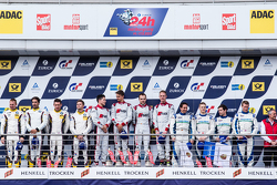 Podium: race winners #28 Audi Sport Team WRT Audi R8 LMS: Christopher Mies, Edward Sandström, Nico Müller, Laurens Vanthoor, second place #25 Marc VDS Racing BMW Z4 GT3: Maxime Martin, Lucas Luhr, Markus Palttala, Richard Westbrook, third place #44 Team F
