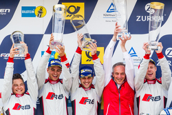 Podium: race winners #28 Audi Sport Team WRT Audi R8 LMS: Christopher Mies, Edward Sandström, Nico Müller, Laurens Vanthoor, and Romolo Liebchen, Head of Audi Sport customer racing