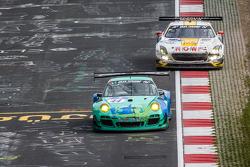 #44 Team Falken Tire Porsche 997 GT3 R: Peter Dumbreck, Wolf Henzler, Martin Ragginger, Alexandre Imperatori, #23 Rowe Racing Mercedes-Benz SLS AMG GT3: Klaus Graf, Christian Hohenadel, Nico Bastian, Thomas Jäger