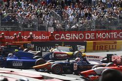 Marco Sorensen, Carlin, Rio Haryanto, Campos Racing, and Rene Binder, Trident at the start