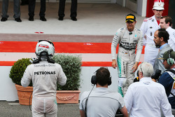 Third placed Lewis Hamilton and race winner Nico Rosberg, Mercedes AMG F1