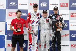 Race 3 Podium: second place Jake Dennis and winner Felix Rosenqvist, Prema Powerteam and third place Charles Leclerc, Van Amersfoort Racing