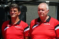 Graeme Lowdon, Manor F1 Team Chief Executive Officer with John Booth, Manor F1 Team Team Principal